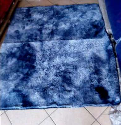 Blue patched fluffy Anti skid carpets 7*8 image 1