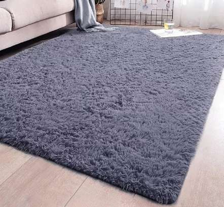 rugs fluffy soft carpet grey image 1