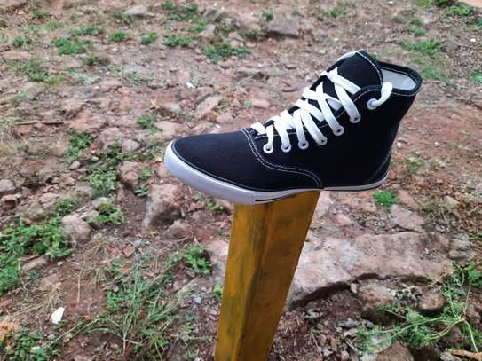 Black High Cut Canvas Breathable Rubber Shoes-Black image 2