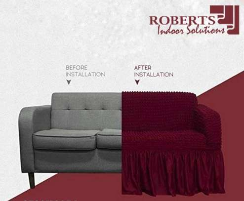 durable maroon turkish sofa cover 5 seater image 1