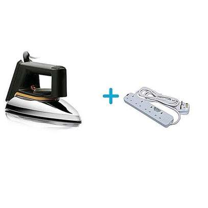 Philips HD1172 No.1 -Dry Iron Box - Silver + a FREE 4-Way Socket Extension Cable image 1