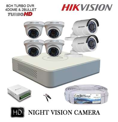 6 HD CCTV Camera  Installation Kit (with Night Vision + 1TB Storage + 100m Cable) image 2