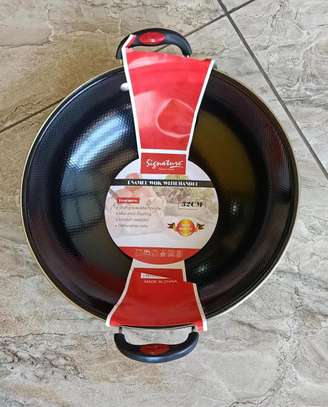 Enamel Wok. Deep frying pan. image 1