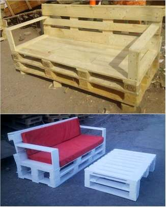 Beautiful Modern Quality 3 Seater Outdoor Pallet Sofa image 1