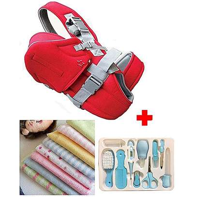 Baby Carrier + Grooming Kit + 8Pcs Assorted Infant Towel