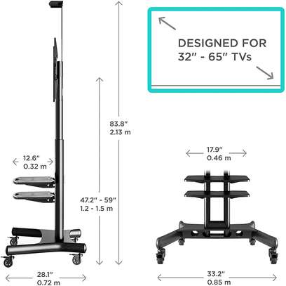 """ONKRON Mobile TV Stand TV Cart with Wheels & 2 AV Shelves for 32"""" – 65 inch LCD LED OLED Flat Panel Plasma Screens up to 100 lbs Black TS1552 image 3"""