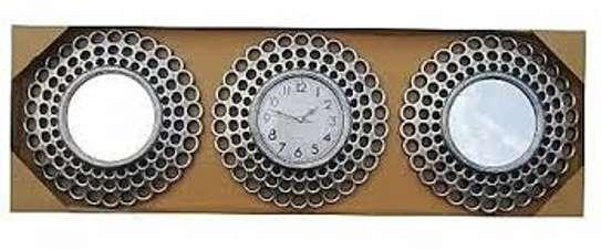 3 piece mirror wall clock image 1