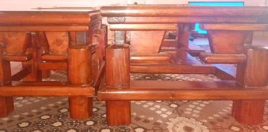 Pure Mahogany Coffee Table and 2 Stools image 1