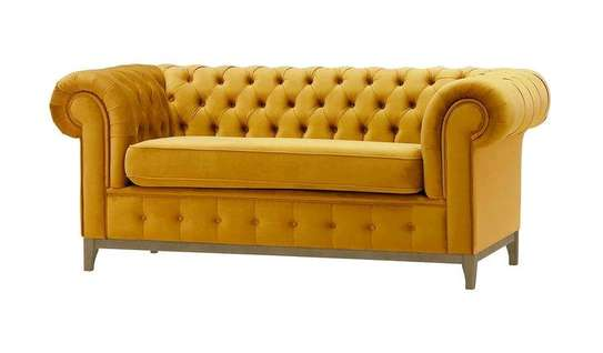 MUSTARD CHESTERFIELD 2 SEATER SOFA image 1