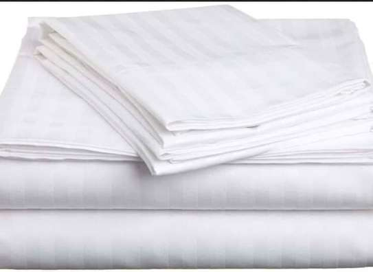 Pure White Cotton Bedsheets image 1