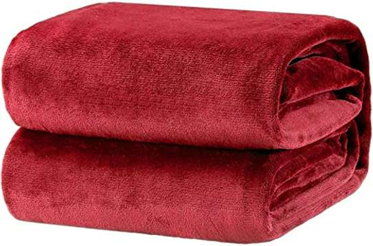 Cosy Soft Warm Fleece Blanket 150*203 Cm- Maroon image 1