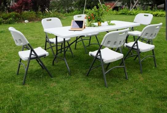 6 seater Foldable Tables and Chairs image 1