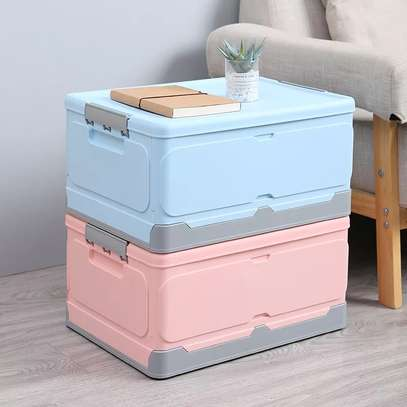Large foldable storage box with plastic lid closet books and car storage organizer-pink image 7