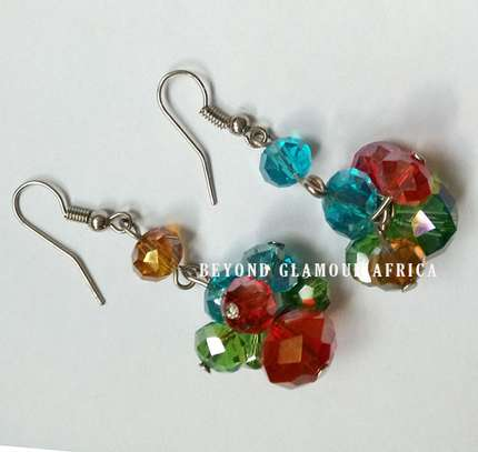 Colourful Crystal Earrings image 1