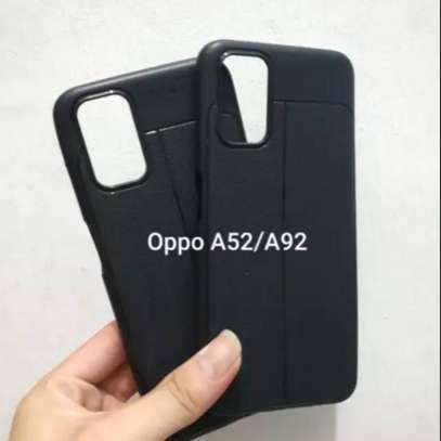 Auto Focus Leather Pattern Soft TPU Back Case Cover for Oppo A92 image 2