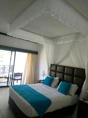 Ceiling mounted mosquito nets opens like curtains