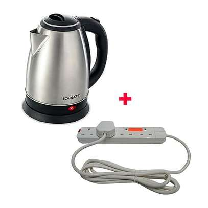 Scarlett Cordless Electric Kettle - 2Litres With 4-way Red Lable Extension cable - Silver image 1
