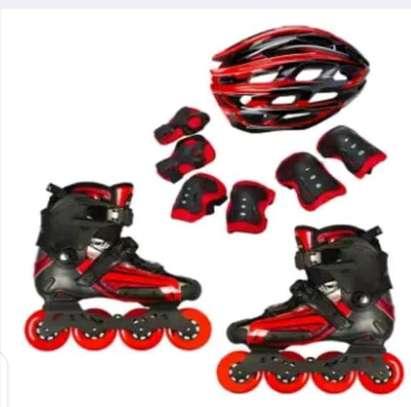 Skating combo, roller skate shoe, helmet, knee /elbow guards image 2