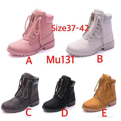 Ladies zip up ankle leather boots image 1