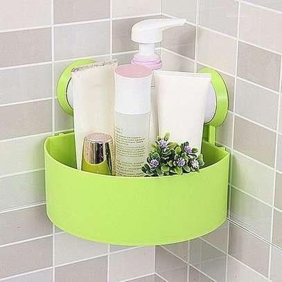Wall Corner Triangular Shelf Organizer Rack with Suction Cup - Green image 1