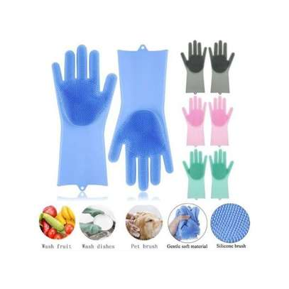 Silicone Gloves Scrubber Cleaning Gloves & Heat Resistant -A Pair {Re-usable }