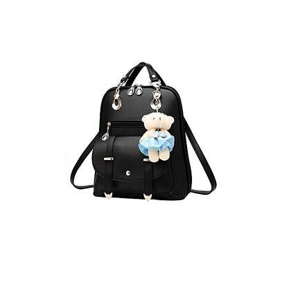 Bagsdiva Women's Casual Backpack Concise Preppy Style PU Leather Shoulder Bag with Bear Pendant,Black image 4