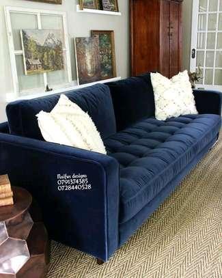 Tufted three seater sofa for sale in Nairobi Kenya/blue sofa set designs image 1