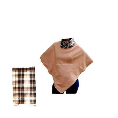 Womens Brown animal print cotton poncho with soft shawl image 1