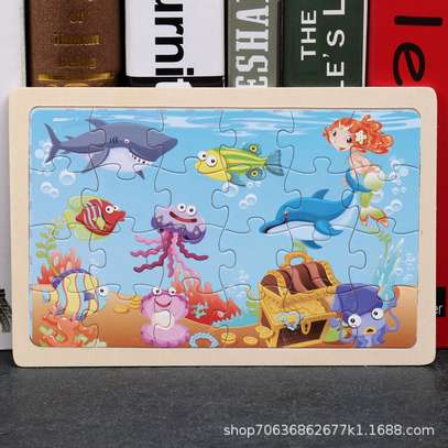 4PCS/3D Wooden Jigsaw Puzzles for Children Kids Toys Cartoon Animal/Traffic Puzzles Baby Educational Puzles image 4
