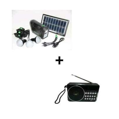GDLITE Solar Kit with LED Lights and Phone Multi Charger With Free Digital Radio image 1