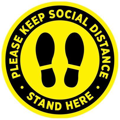 """Round 'Social Distancing' Floor Stickers Signage 10"""" image 1"""