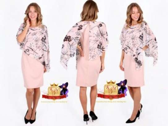 Dust Pink Floral Print Overlay Dress. image 1