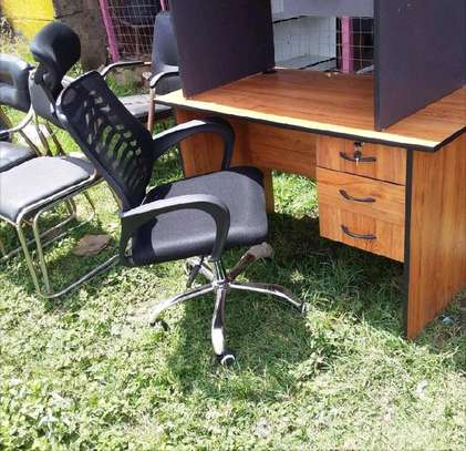 Writing computer desk with 3 drawers and high back office chair of which is adjustable image 1
