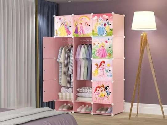 pink kids themed plastic wardrobe image 2