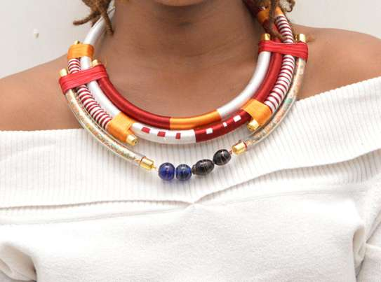 African Embroidered Necklace