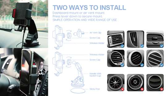 Infrared automatic clamping wireless car charger mount image 3