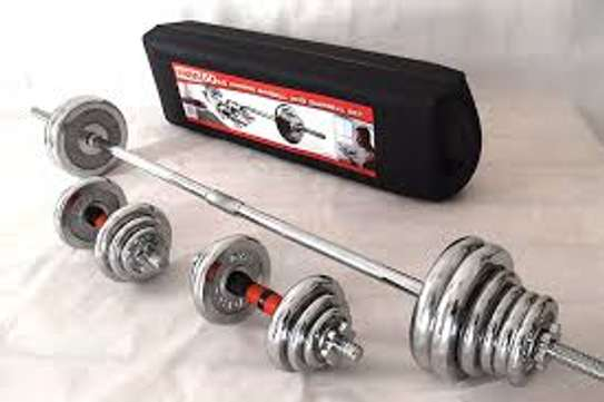 York Fitness 50kg Barbell and Dumbbells set weight lifting gym image 1