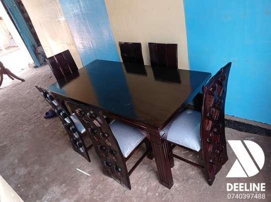 Rectangular 6 Seater Mahogany Framed Dining Sets image 12