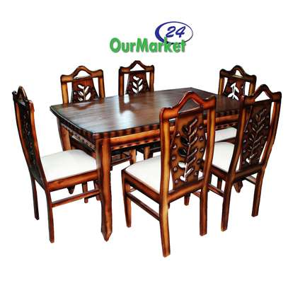 Dinning Table 6 chair: Table: color brown different design image 1