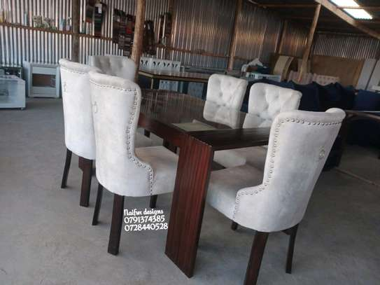 Modern six seater glass dining table for sale in Nairobi Kenya/Best Furniture shops in Nairobi Kenya/Glass dining table set for sale in Nairobi Kenya image 1