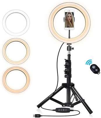 26cm/10 Inch LED Ring Light with Light Stand Universal Phone Holder Kit image 2