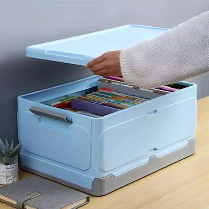 Large foldable storage box with plastic lid closet books and car storage organizer-pink image 3