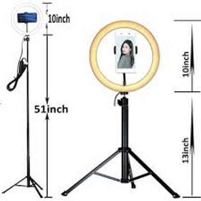 Photography Led Tiktok Ring Light 26cm Metal Frame Dimmable With 8 Ft Tripod image 2
