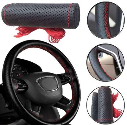 Hand stitched steering wheel cover - non leather image 1