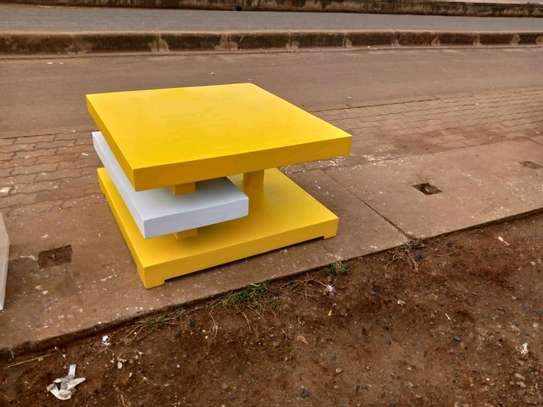 White and yellow TV stand image 1