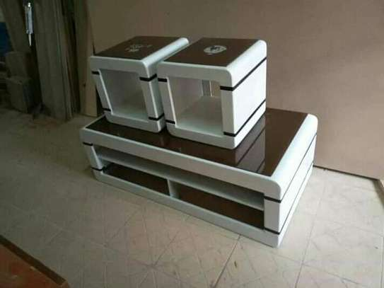 Brown and white coffee table image 1