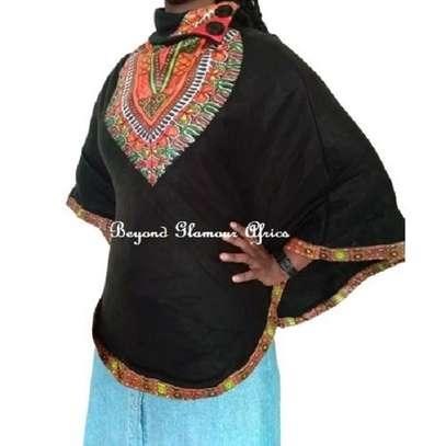 Dashiki Print Black Poncho Super Soft Cotton