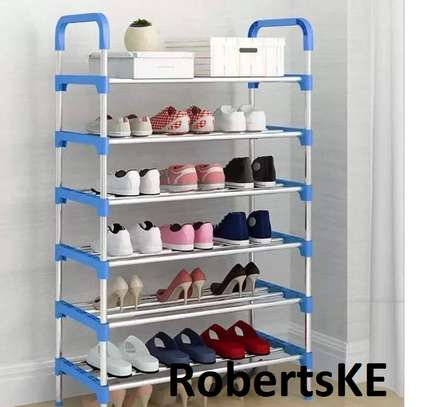 blue and white shoerack image 1