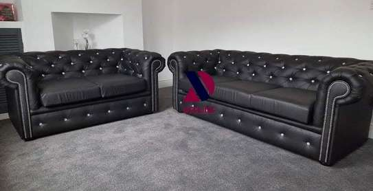 5 Seat faux leather Chesterfield Sofa set (3+2) image 1
