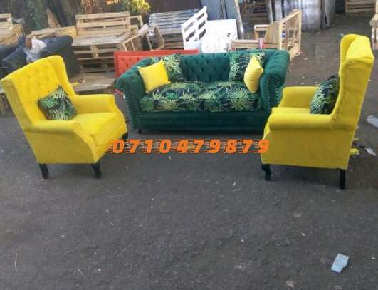 Chester field with wing back chairs